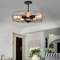 Industrial Ceiling Light Fan Wall Lamp Hanging Light 5-Light Ceiling Chandelier Lighting Fixture Metal Fan Wall Lamp E27 Bulb for Dining Room Indoor Bar Lighting (Without bulb)