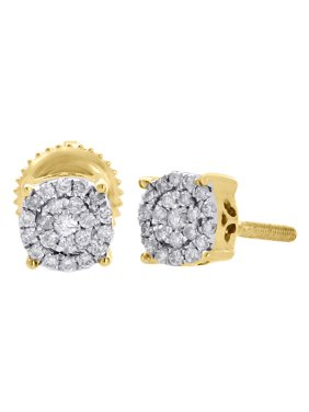 10K Yellow Gold Diamond Circle Studs 4 Prong 5.30mm Cluster Earrings 0.13 Ct.