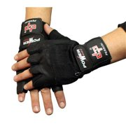 282 Fingerless Gloves Black Leather Working Out Weight Lifting