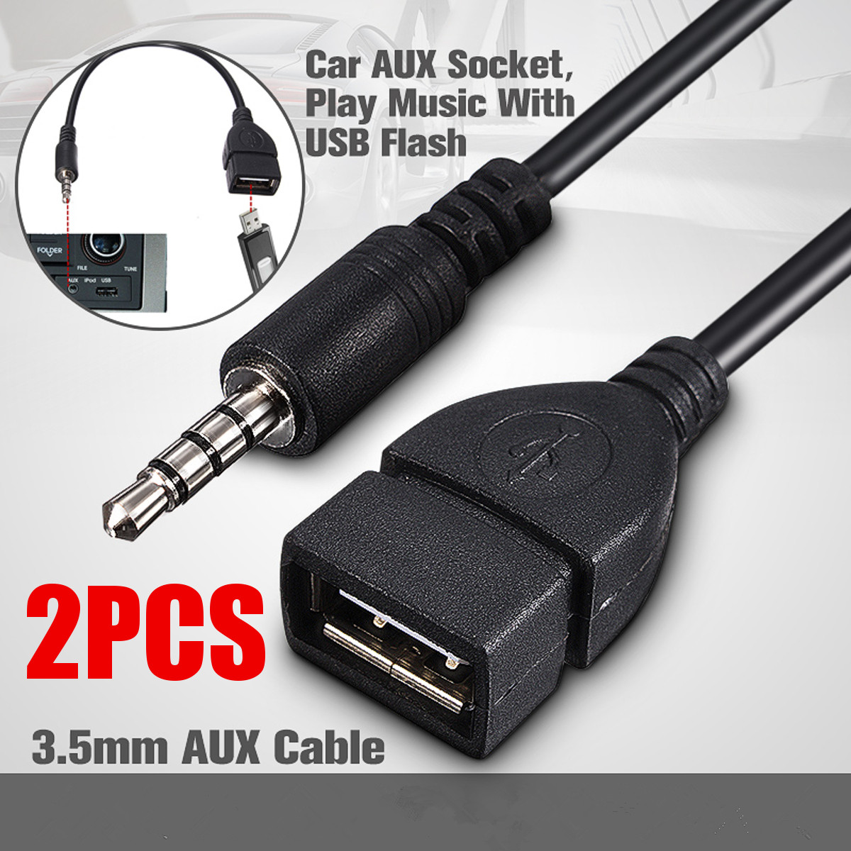 2PCS Audio Converter Adapter USB Female to AUX 3.5mm Male Jack Plug Data Charge Cable