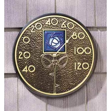 Blue Dard Hunter Rose Thermometer in Bronze Dard Hunter Studios