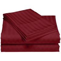 1200 Thread Count 100% Cotton Stripe Sheet Set (Queen, Burgundy)