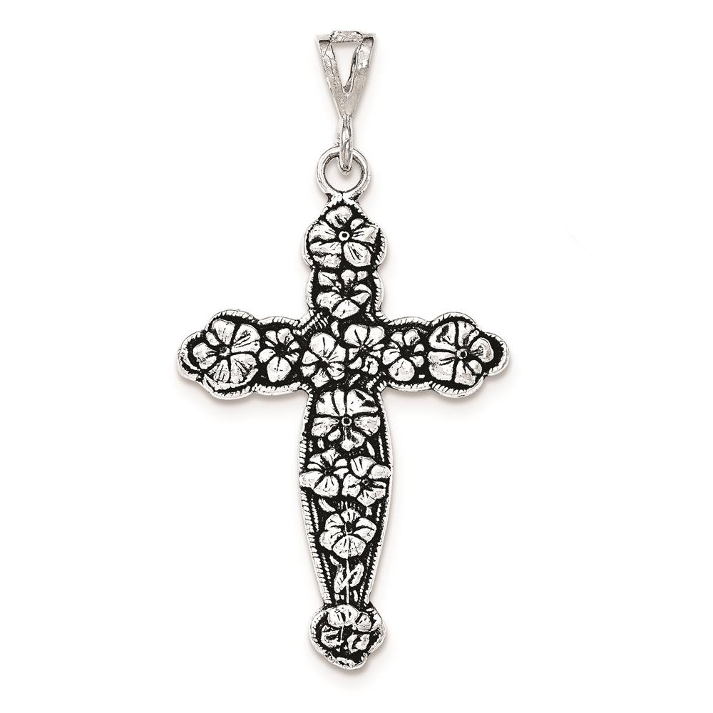 Sterling Silver Antiqued & Textured Large Floral Cross Polished Charm Pendant