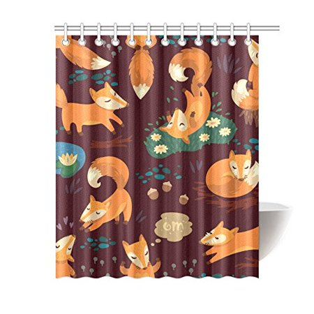 MKHERT Funny Cute Little Fox Shower Curtain Waterproof Fabric Polyester Bath 60x72 Inch