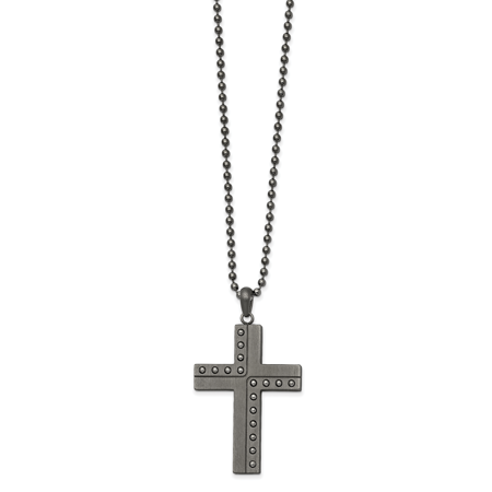 Stainless Steel Polished & Matte Finish Gun Metal IP Cross Necklace 22in Polished Steel Metal