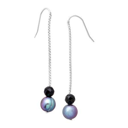 (Honora Freshwater Ringed Blue Pearl & Onyx Bead Drop Earrings in Sterling Silver)