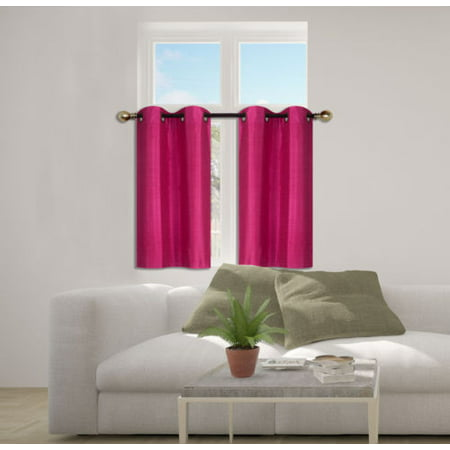 D24 Hot Pink 2 Piece Energy Saving Room Darkening Grommet Top Window Curtain Set
