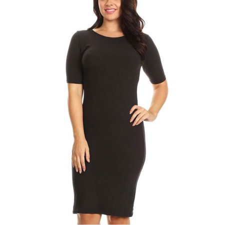 Womens Plus Size Basic Curvy Short Sleeves Crew neck Midi Bodycon Dress DRS002P-XL-Black