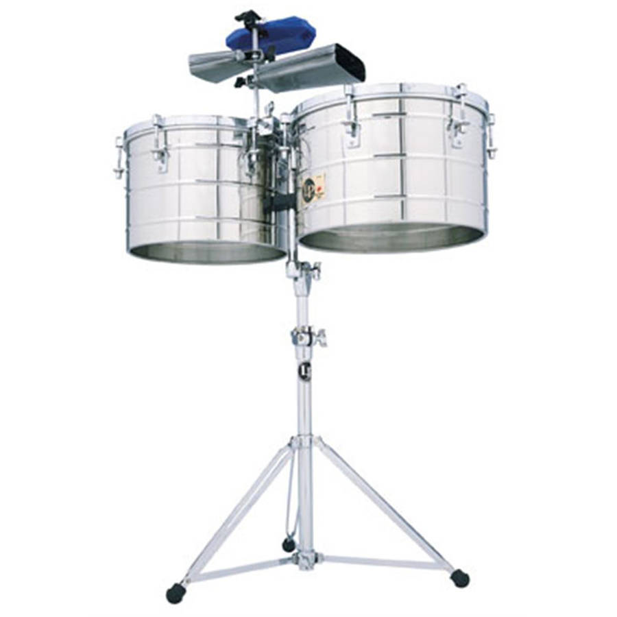 "LP Latin Percussion Tito Puente 15"" & 16"" Thunder Timbales, Steel w/ Stand"