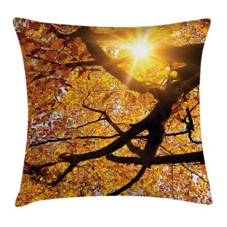 Forest Home Decor Throw Pillow Cushion Cover, Sun through Leaf Golden Color Vivid October Foliage Harvest Serene Paradise, Decorative Square Accent Pillow Case, 18 X 18 Inches, Orange, by Ambesonne