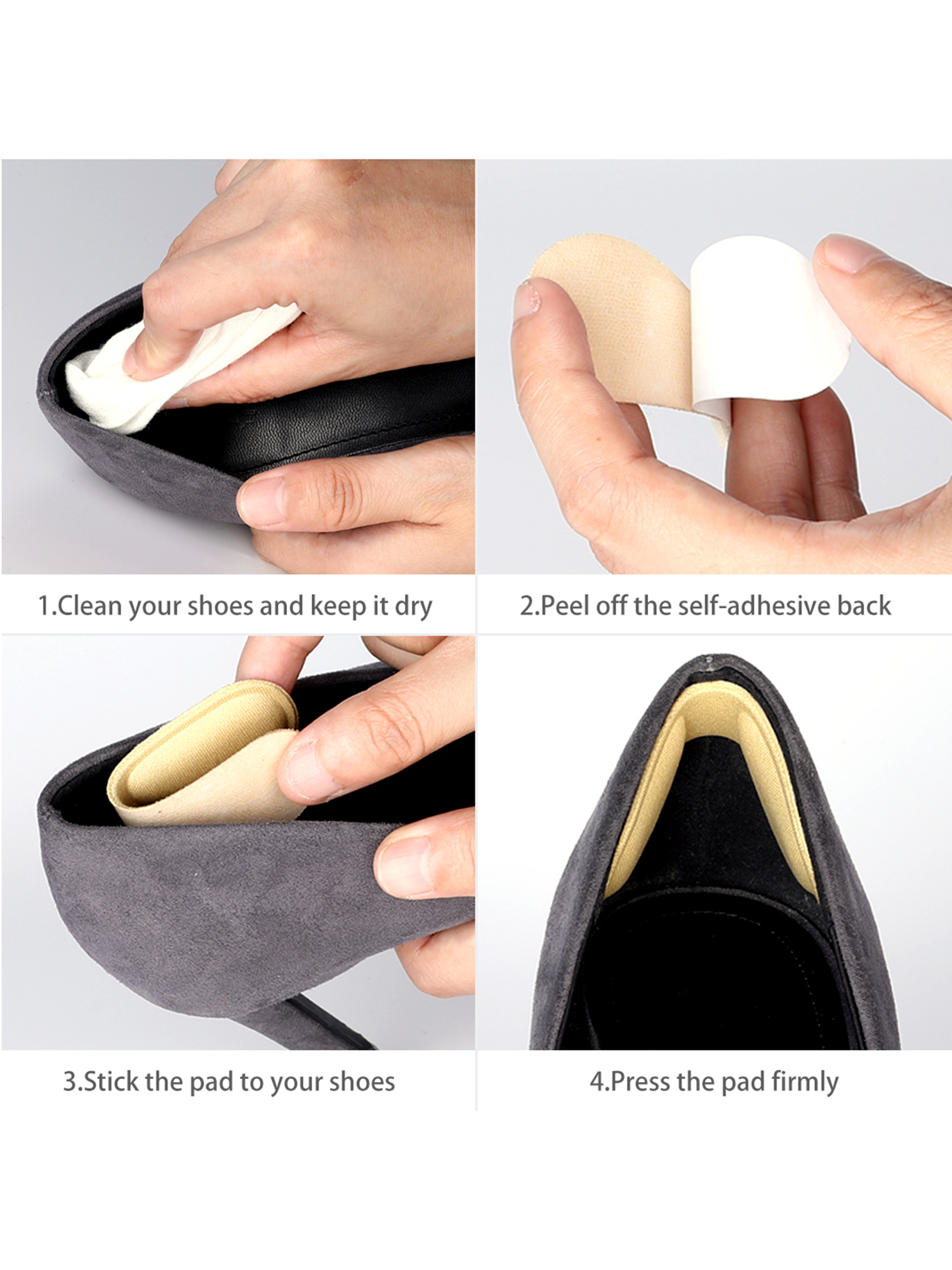 2x  Fabric Shoes Back Heel Inserts Insoles Pads Cushion Liner Grips FD