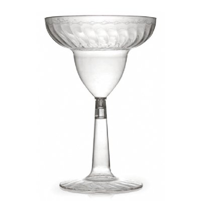 12 oz Plastic Waves Margarita Glass with Clear Base,Pack of 12 EA ()