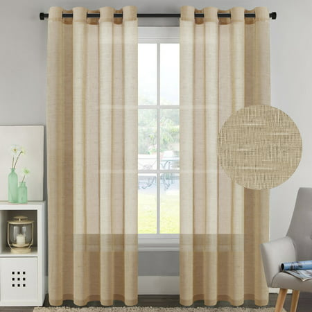 Linen Window Panel (H.VERSAILTEX Pair Set Nickel Grommet Natural Linen and Poly Semi-Sheers,Premium Soft Rich Material Curtain Panels for Living Room - 52x96-Inch-Tan )