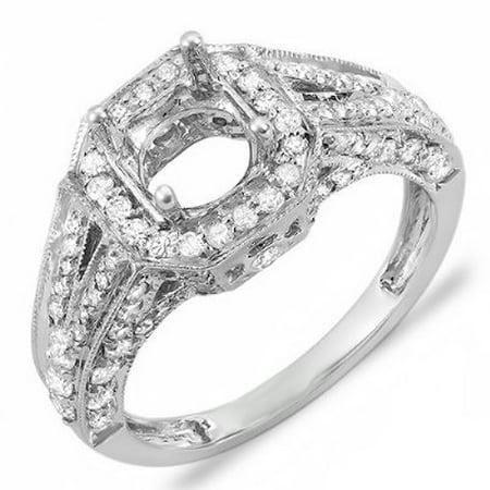 1.25 Carat (Ctw) 14k White Gold Round Diamond Ladies Bridal Semi Mount Ring Set (No Center Stone)
