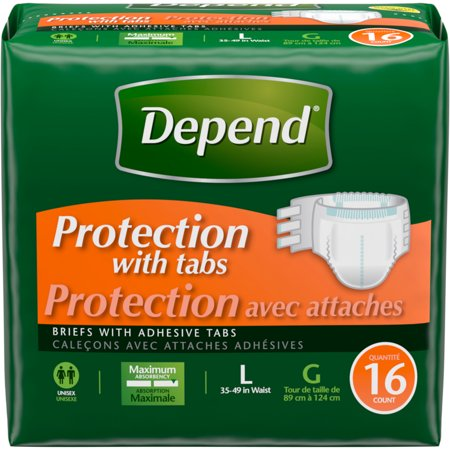 Depend Unisex Protection Briefs with Tabs, Maximum Absorbency, L, 16 Each ()