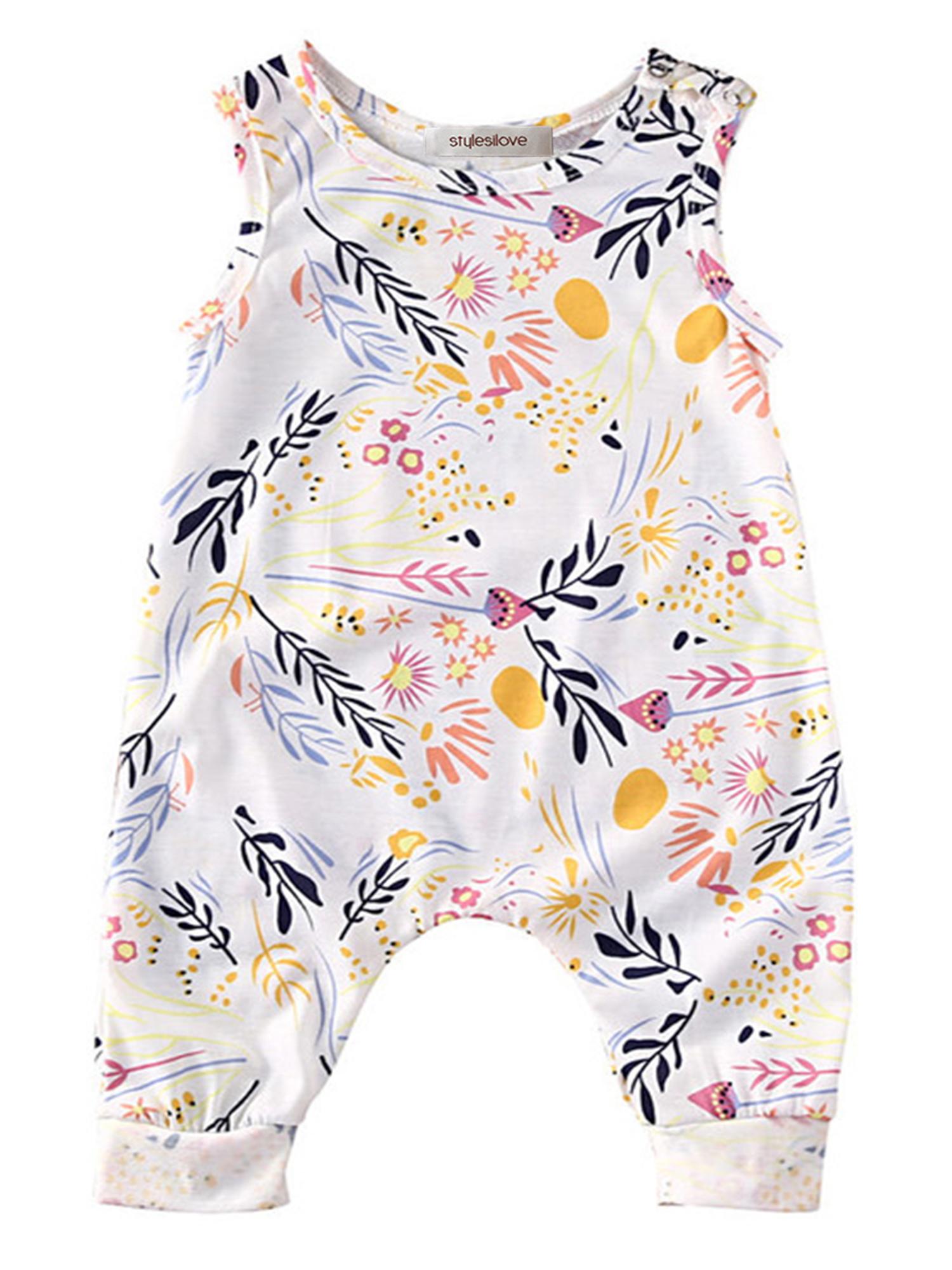 StylesILove Toddler Baby Girl Summer Floral Sleeveless Romper (100/18-24 Months)