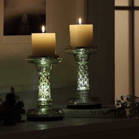 "7.8"" Illuminated LED Candle Holders with Timer Mode, Set of 2 Mercury Glass Pillar Candle Holder Pedestal for Antique Home and Table Decor (Silver) ()"