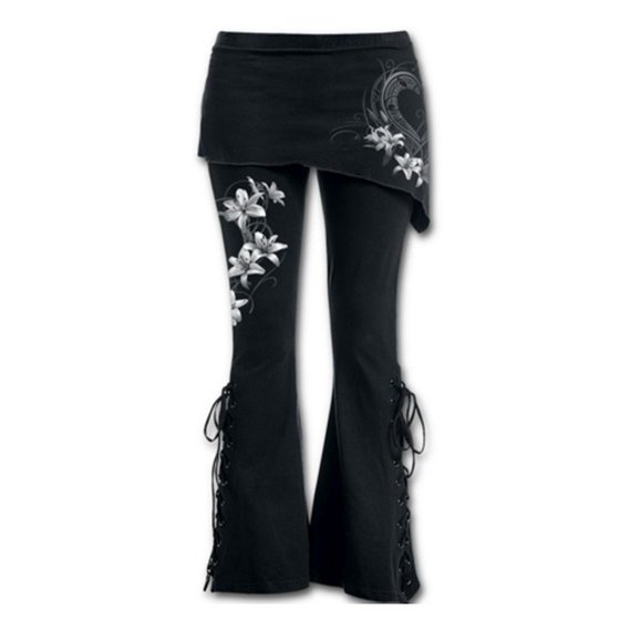 bf52131122fa3d DAYUE - Women 2 in 1 Boot Cut Leggings with Micro Slant Skirt Gothic Punk  Lace Up Bell Bottom Leggings 46ZDCP0437 - Walmart.com