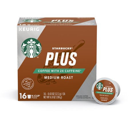 Starbucks Plus Coffee Medium Roast 2X Caffeine Single Cup Coffee for Keurig Brewers, One Box of 16 (16 Total K-Cup Pods)