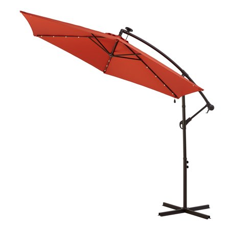 Better Homes & Gardens Canyon Lake 10' Red Round Cantilever Patio Umbrella with Solar
