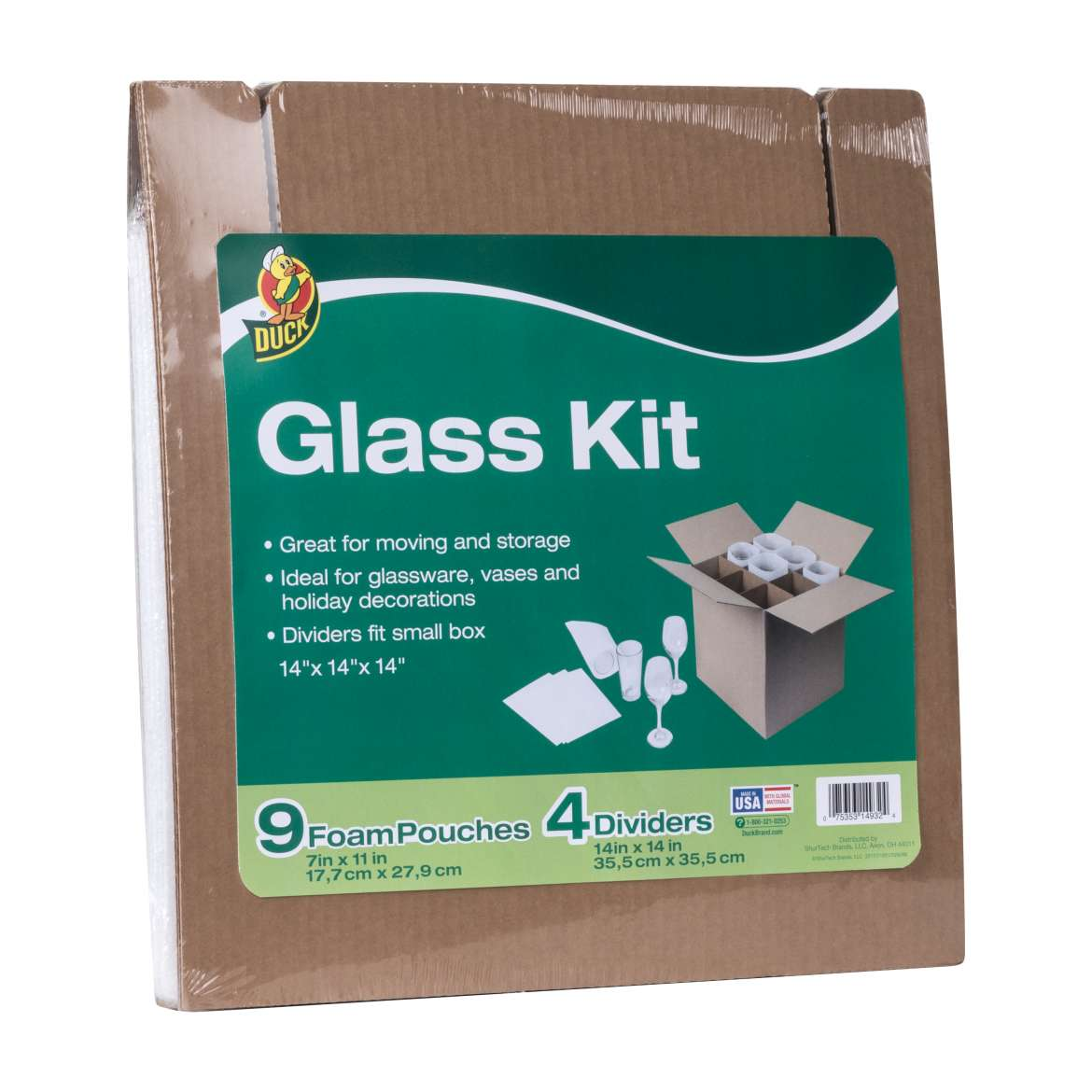 Duck Glass Kit, 4 Corrugate Dividers & 9 Foam Pouches (Box Not Included)