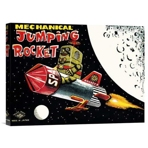 Global Gallery 'Mechanical Jumping Rocket' by Retrobot Vintage Advertisement on Wrapped Canvas