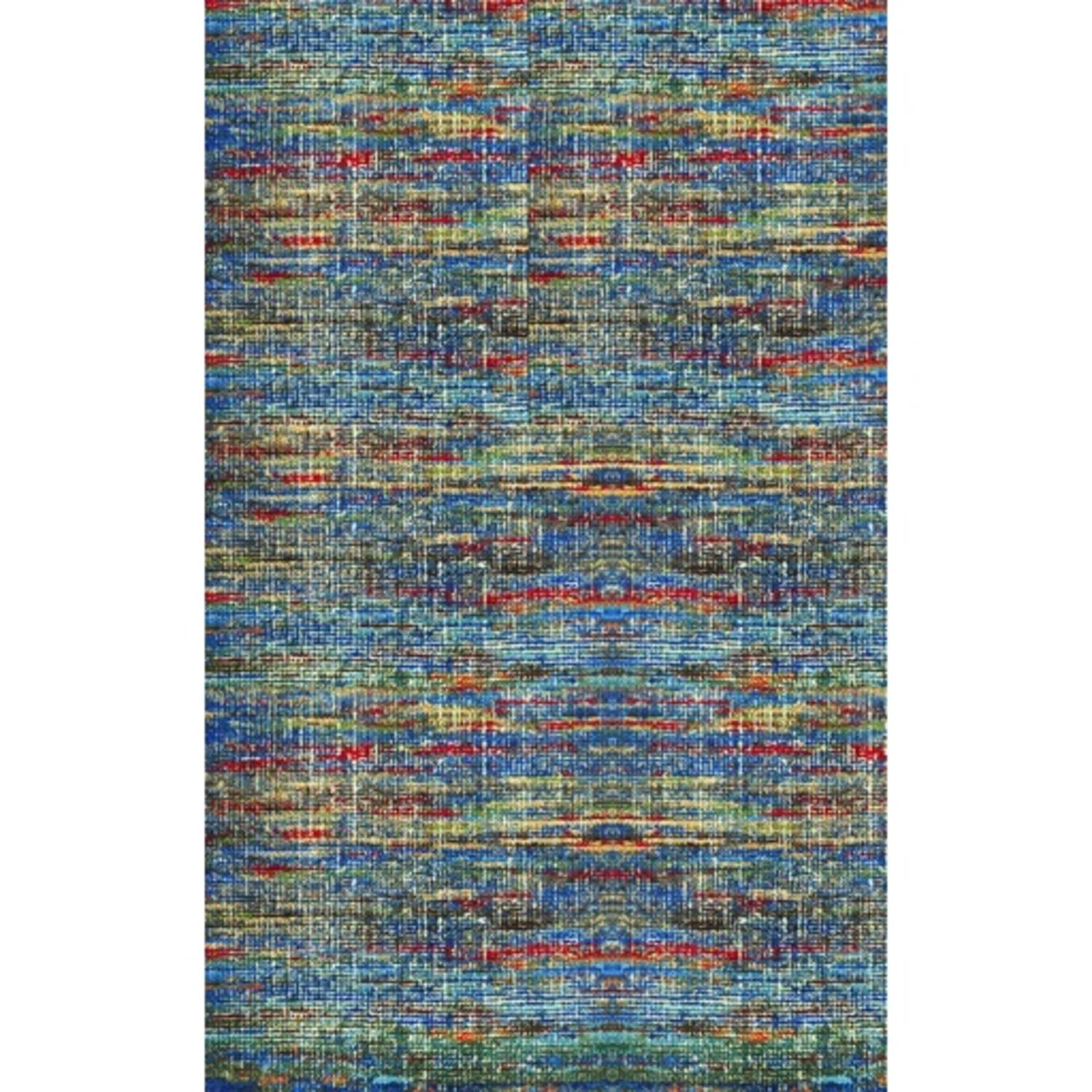 8' x 11' Bazaar Mix Honolulu Blue, Fire Red and Sea Green Hand Knotted Area Throw Rug