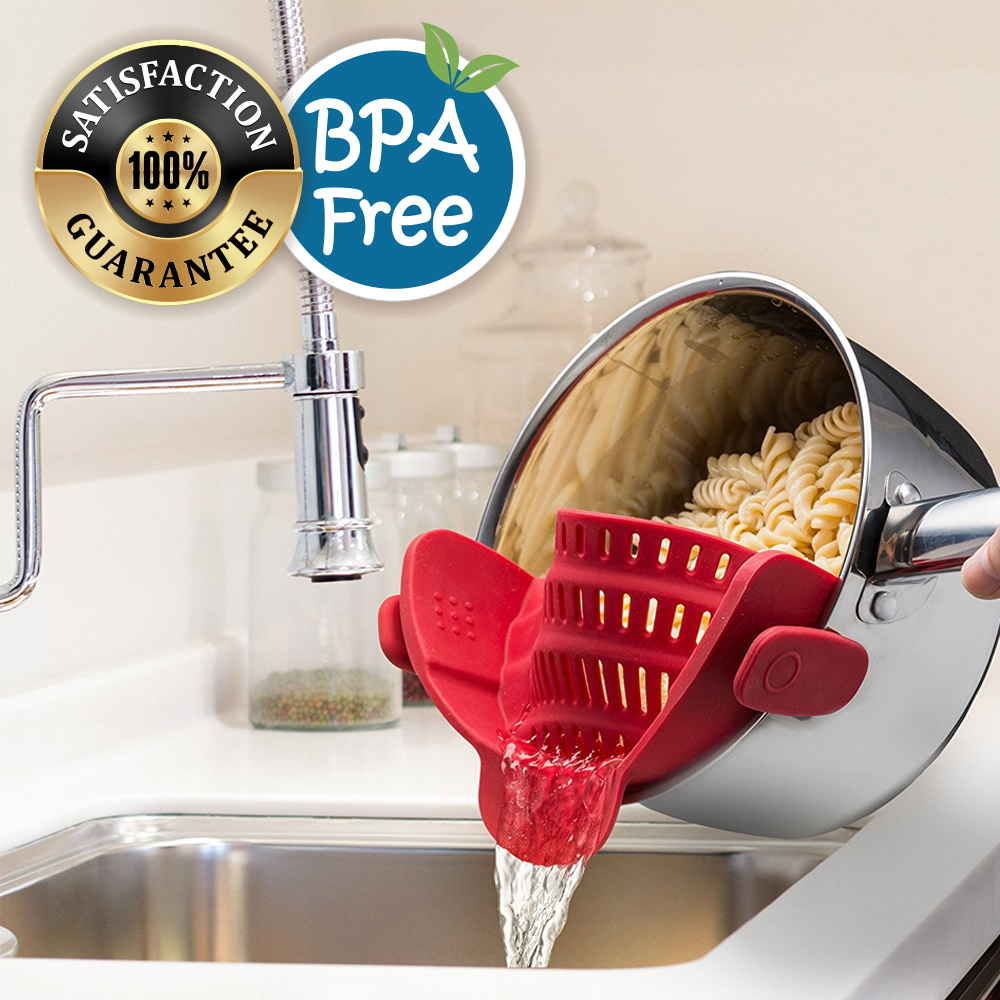 Click here to buy Eutuxia Clip-On Silicone Strainer. Perfect Colander & Sieve Alternative for Straining Food. Easy Snap-On Universal Fit Design for All Pots,....