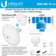 Ubiquiti NBE-M5-19 2-PACK Outdoor 5GHz Nanobeam M5 19dBi Antenna airMAX Bridge