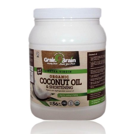 Grain Brain Extra Virgin Coconut Oil  Unrefined Cold (54oz) Pressed for Cooking Baking Frying, Skin and