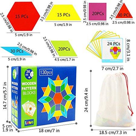 Lewo 130 PCS Wooden Pattern Blocks Geometric Shape Puzzles Classic Educational Toys Tangrams Set for Kids with 24 Design Cards (Classic Pattern Blocks) Classic Pattern Blocks - image 3 de 4
