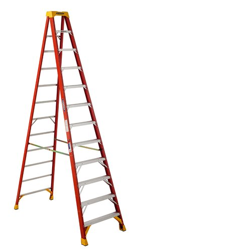 Werner 12 Ft Fiberglstep Ladder With 300 Lb Load Capacity Walmart Com