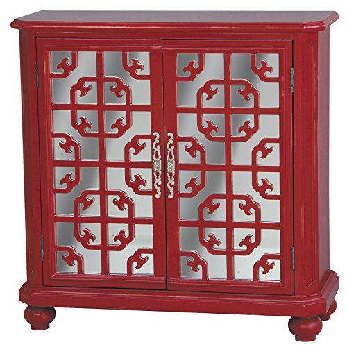 Sofaweb.com Hand Painted Distressed Red and Mirrored Finish Accent Chest