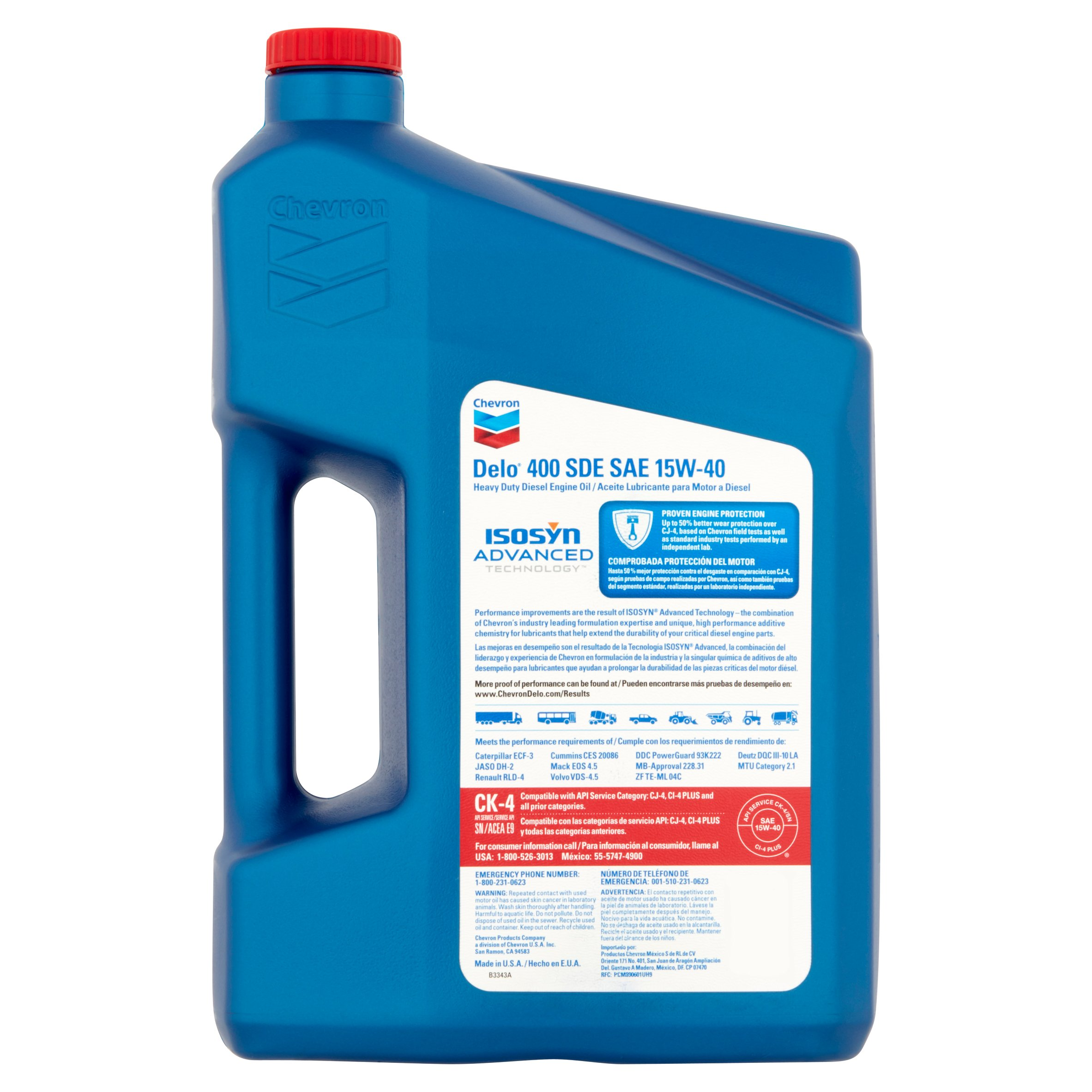 Chevron Delo 400 SDE SAE 15W-40, 1 GALLON - Walmart com
