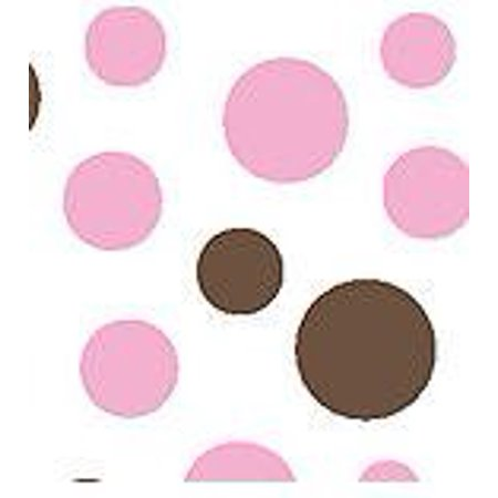 Small & Large Pink & Brown Polka Dot Gift Wrap Pom Pom Tissue Paper