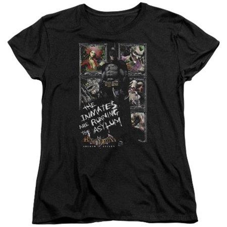 Batman Womens Shirt (Trevco Batman Aa-Running The Asylum - Short Sleeve Womens Tee - Black,)