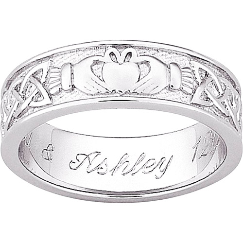 Personalized Sterling-Silver Claddagh Wedding Band