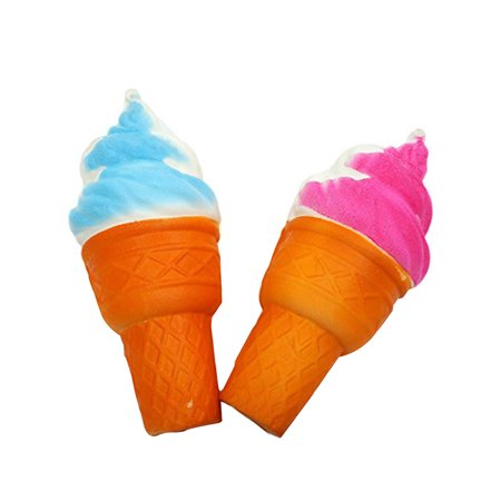 2 Pcs Cute Blue & Pink Jumbo Ice Cream Cone Stress Reliever Toy Slow Rising Extra Soft - Squishy Stores