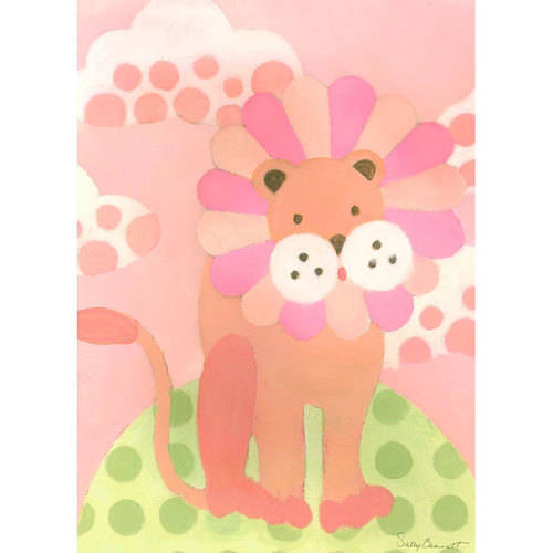 Oopsy Daisy - Leo Lion - Pink Canvas Wall Art 10x14, Sally Bennett
