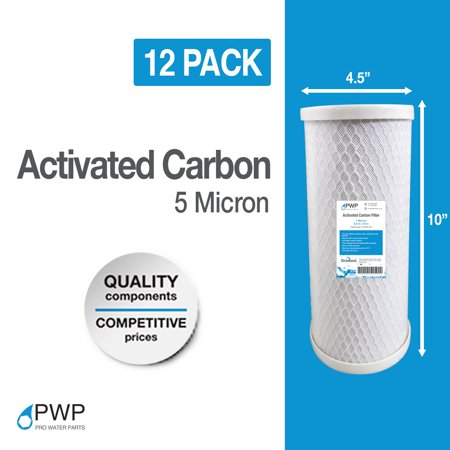 12 Pack 4.5 x 10 In Carbon Block Water Filter Whole House RO CTO 5 Micron