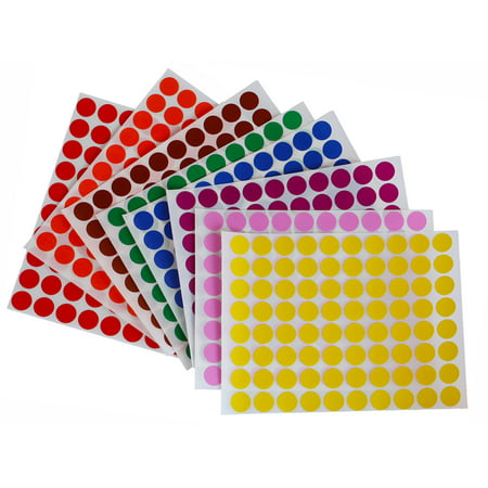 Colored Dot stickers colors 1/2 inch 13mm labels round sticker in 8 colors, 16 sheets total,  1280 Pack by Royal - Tropical Sticker Sheet