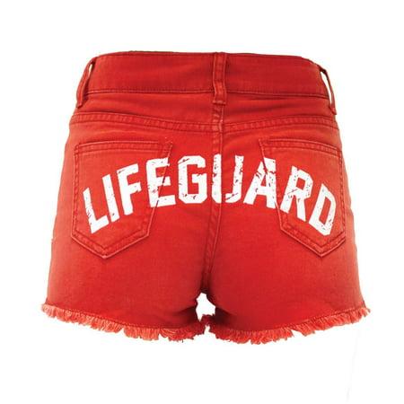 LIFEGUARD Women's Vintage Washed Look Red Denim High Waisted Shorts (XS (0/2)) (Lifeguard Shorts Women)