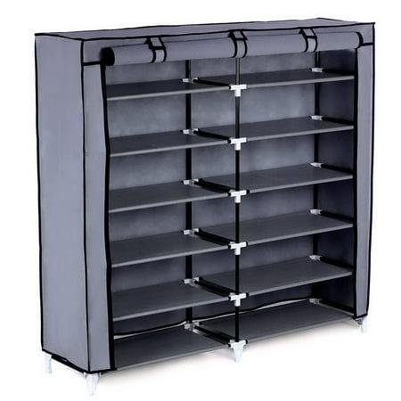 Ktaxon 6 Tiers Portable Shoe Rack Closet Fabric Cover Shoe Storage Organizer Cabinet Gray