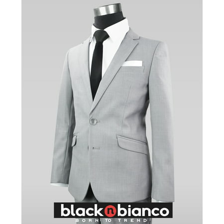 Black n Bianco Boys' Signature Light Gray Slim Suit Complete Set](Boys Light Grey Suits)