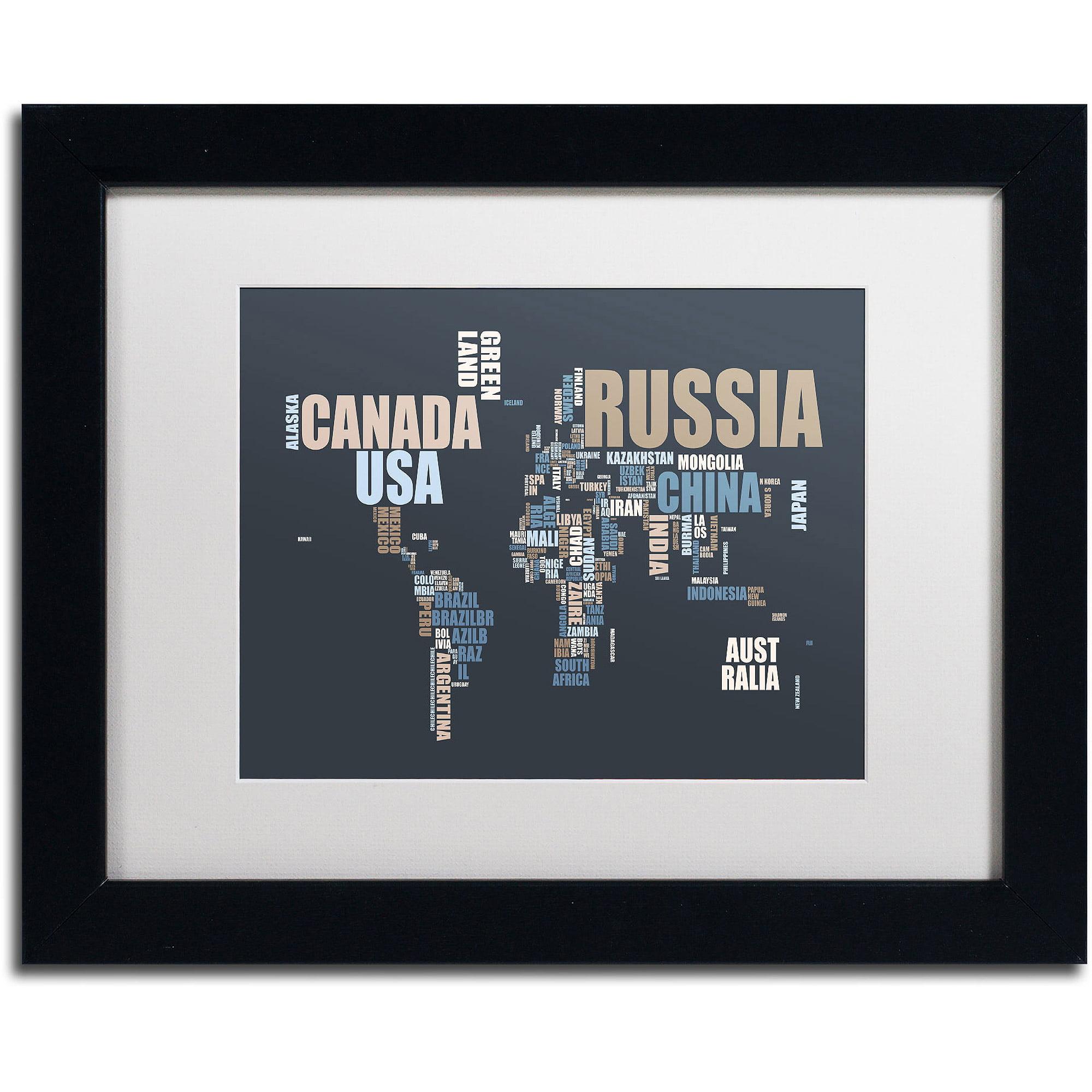 "Trademark Fine Art ""World Text Map"" Canvas Art by Michael Tompsett, White Matte, Black Frame"