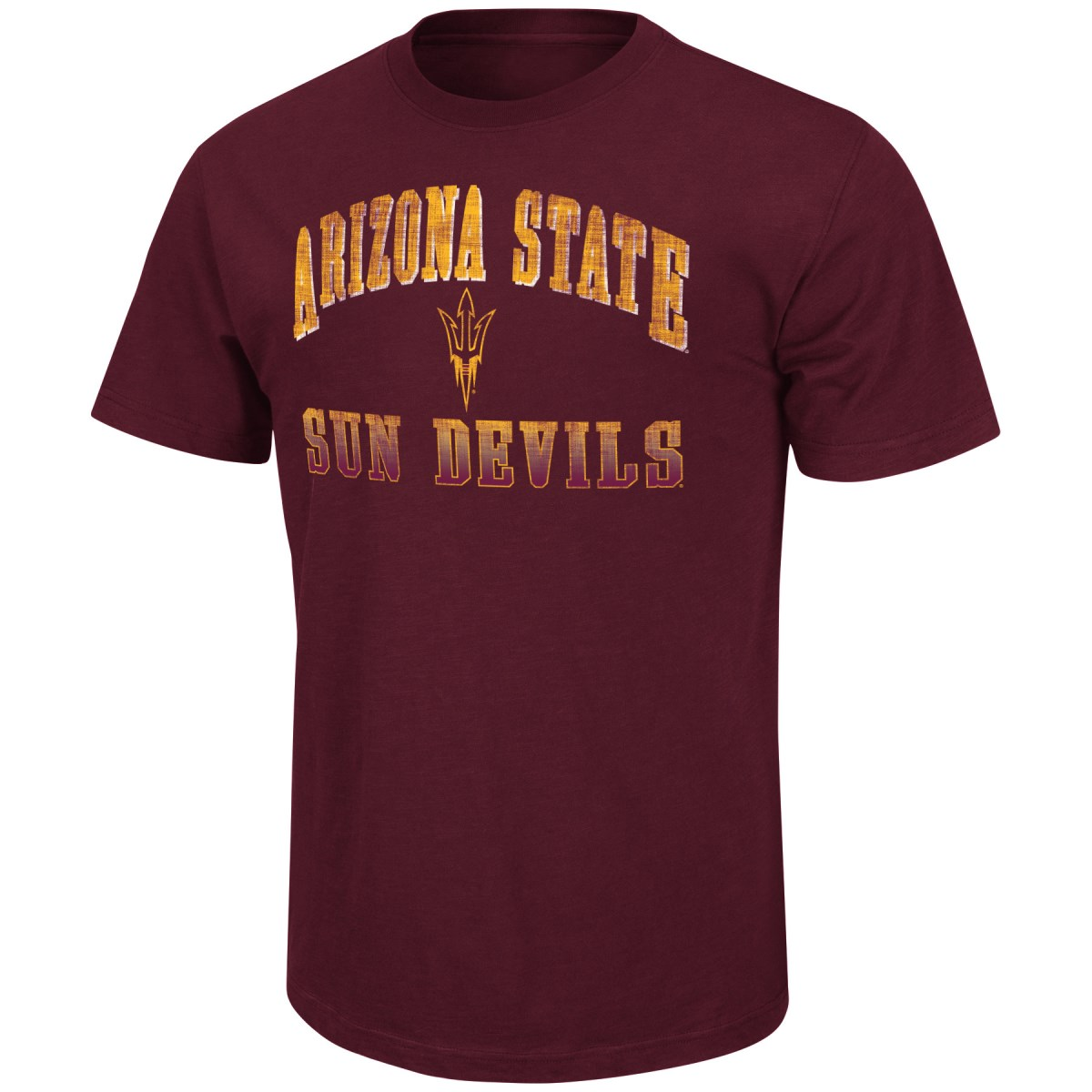 "Arizona State Sun Devils NCAA ""Contour"" Men's Short Sleeve Distressed T-Shirt"