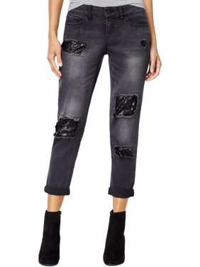 321d397e9d Product Image Dollhouse Womens Juniors Sequinced Distressed Jeans Black 0