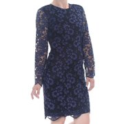 DKNY Womens Black Lace Floral Long Sleeve Jewel Neck Above The Knee Sheath Wear To Work Dress  Size: 12