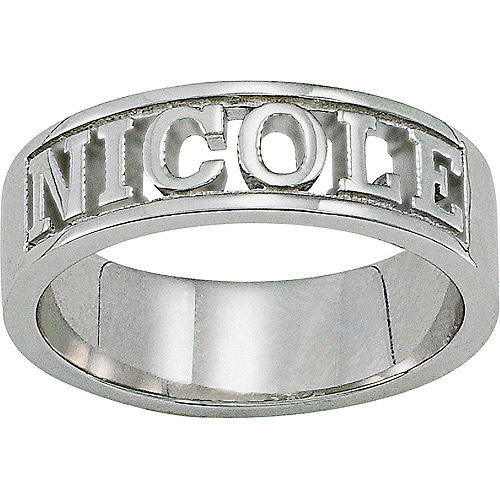 personalized sterling silver sculpted cut out name ring
