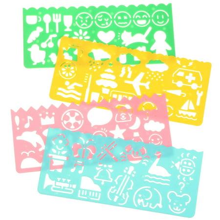 Meigar 4Pcs Plastic Animal Plane Emoji Geometric Template Kids Scrapbooking Stencil